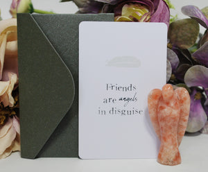 New! 'Friends Are Angels In Disguise' Natural Sunstone Healing Crystal Stone Angel & Keepsake Card