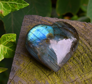 New! Large Labradorite Natural & Unique Crystal Stone Heart Fully Polished