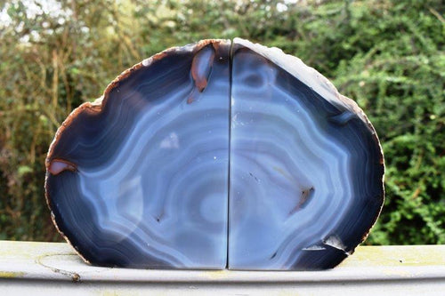 New! Polished Blue Agate Crystal Stone Book Ends 1660g (1.6kg) Inc Luxury Gift Boxed