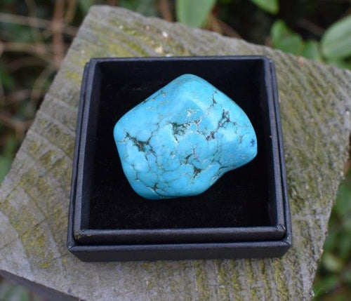 New! Natural Large Turquoise Polished Crystal Tumble Stone Inc Gift Box & Benefits Tag
