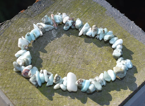 New! Natural Larimar Crystal Stone Chips Meditation Mental Health Bracelet