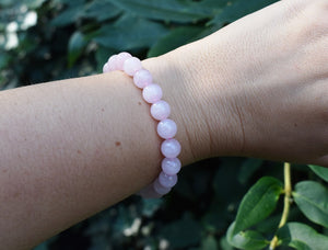 New! Natural Rose Quartz Polished Crystal Stone Beads Bracelet