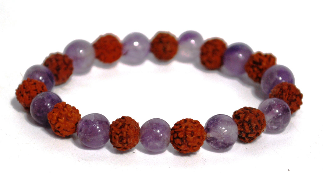 New! Amethyst Crystal Beads With Genuine Rudraksha Beads Bracelet