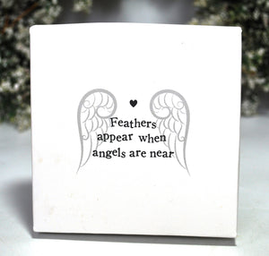 New! Feathers Appear Guardian Angel Gift Box Set Inc Nickel Free Pendant, Angel Aura Crystal & Feather Jar