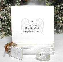 Load image into Gallery viewer, New! Feathers Appear Guardian Angel Gift Box Set Inc Nickel Free Pendant, Angel Aura Crystal & Feather Jar