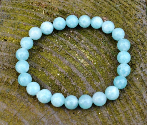 New! Natural Polished Aquamarine Beads Crystal Stone Bracelet Gift Wrapped Inc Benefits Tag