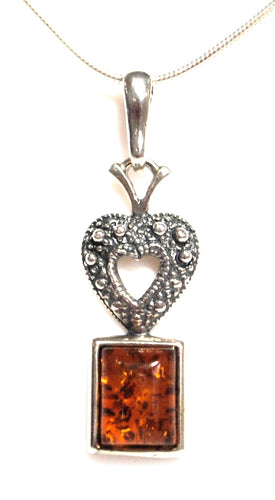 Natural Amber 925 Sterling Silver Pendant & Chain