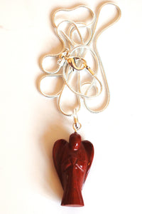 Red Jasper Crystal Stone Angel Pendant Gift Wrapped inc Chain - Krystal Gifts UK