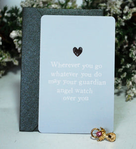 New! Reiju Gift Set 'Wherever You Go, Whatever You Do' Keepsake Card & Pink Jewel Guardian Angel Pin Badge