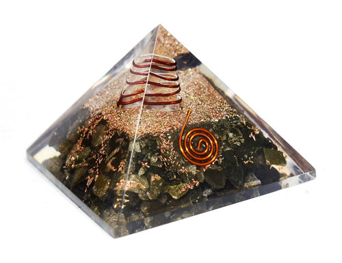 New! Pyrite Large Crystal Stones Orgone Orgonite Energy Generator Pyramid