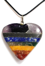Load image into Gallery viewer, Natural Chakra Crystal Stone Heart Pendant