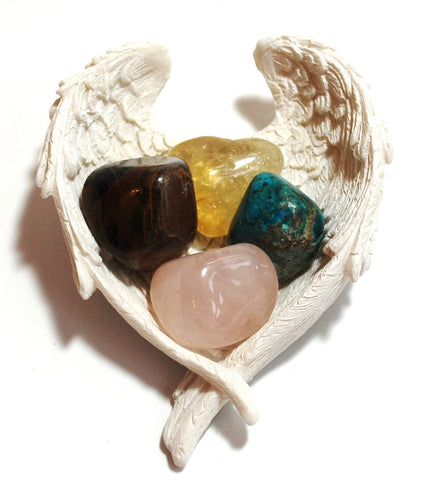 """Self-Confidence / Self-Esteem"" Crystal Stone Gift Set & Angel Wings Dish"