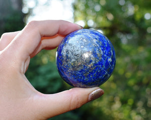 New! Large Solid Lapis Lazuli Crystal Stone Natural & Unique Sphere Ball Piece (300-400g)