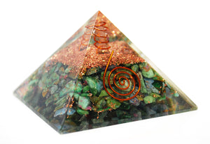 New! Large Ruby In Fuschite Crystal Stones Orgone Orgonite Pyramid