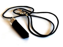 Load image into Gallery viewer, Black Obsidian Crystal Stone Pendant Inc Cord Gift Wrapped Jewellery - Krystal Gifts UK