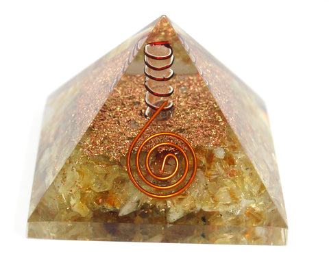 Citrine & Clear Quartz Crystal Stone Chips Orgone Pyramid