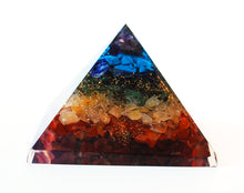 Load image into Gallery viewer, Chakra Crystal Chip Large Orgone Pyramid - Krystal Gifts UK