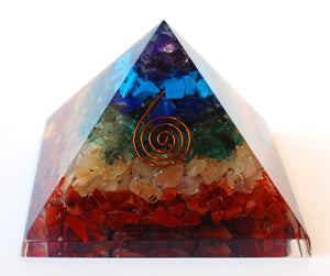 Chakra Crystal Chip Large Orgone Pyramid - Krystal Gifts UK