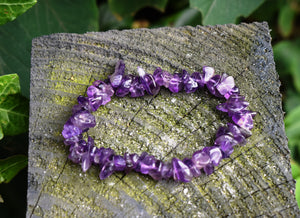 New! Amethyst Natural Crystal Stone Chips Power Bracelet For Calming