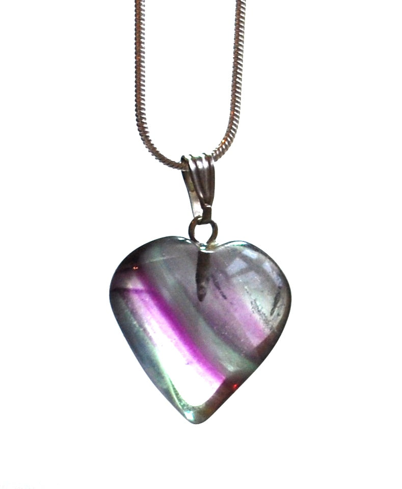 Fluorite Banded Crystal Heart Pendant with Silver Chain
