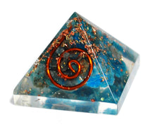 Load image into Gallery viewer, New! Small Apatite Crystal Stones Blue Orgone Orgonite Pyramid