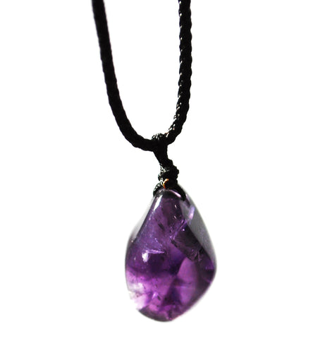 New! Natural Polished Amethyst Crystal Tumble Stone Pendant Necklace