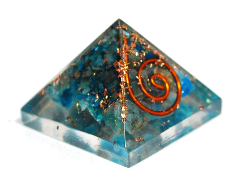 New! Small Apatite Crystal Stones Blue Orgone Orgonite Pyramid