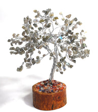 Load image into Gallery viewer, New! Natural Labradorite Crystal Crystal Gemstone Tree With Crystal Stones Wooden Base