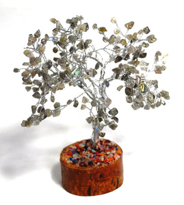 New! Natural Labradorite Crystal Crystal Gemstone Tree With Crystal Stones Wooden Base