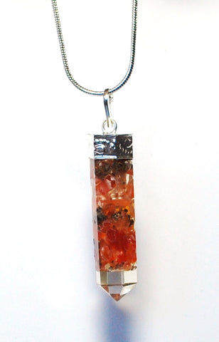 Carnelian Orgone Crystal Stone Chips Pendant Necklace Inc Silver Chain