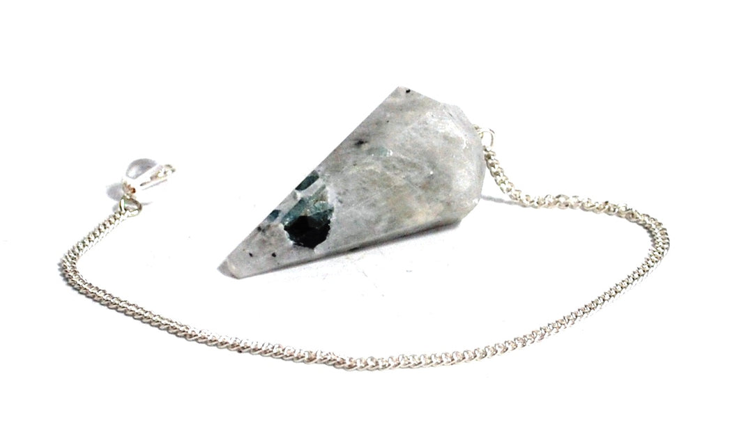 New! Natural Faceted Rainbow Moonstone Crystal Stone Dowsing Pendulum