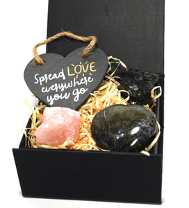 New! 'Spread Love Everywhere You Go' Natural Healing Crystal Gift Boxed Set