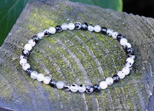 New! Natural Polished Tourmaline & Quartz Small Beads Elasticated Bracelet