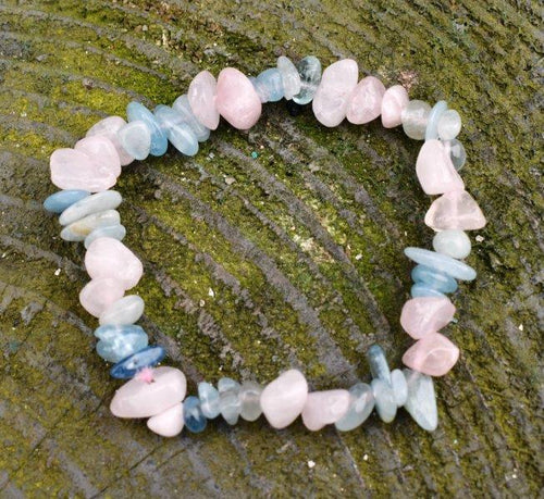 New! Natural Polished Rose Quartz & Aquamarine Crystal Stone Bracelet