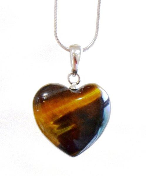 New! Natural Polished Sterling Silver Tigers Eye Crystal Heart 925 Silver Pendant Inc 18