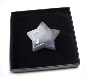 New! Natural Agate Polished Grey Druzy Star Inc Luxury Gift Box