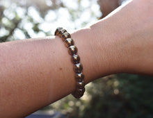 Load image into Gallery viewer, New! Natural Polished Pyrite Crystal Stone Beads Bracelet