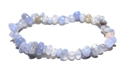 New! Natural Blue Lace Agate Crystal Stone Chips Bracelet