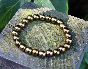 New! Natural Polished Pyrite Crystal Stone Beads Bracelet