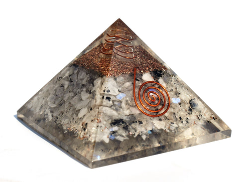 Large Rainbow Moonstone Crystal Stones Orgone/Orgonite Pyramid