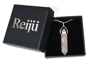 New! Rose Quartz Polished Terminated Pendant Necklace 925 Sterling Silver Inc Luxury Gift Box & Benefits Tag