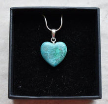Load image into Gallery viewer, New! Chrysocolla Natural 925 Silver Healing Crystal Polished Heart Pendant Necklace Inc Gift Boxed