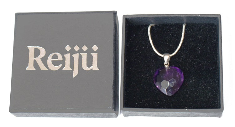 New! Natural Polished Faceted Amethyst 925 Sterling Silver Crystal Heart Pendant Inc 18