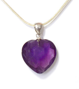 "New! Natural Polished Faceted Amethyst 925 Sterling Silver Crystal Heart Pendant Inc 18"" 925 Silver Necklace"