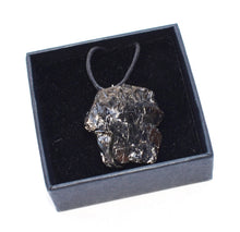 Load image into Gallery viewer, New! Natural Raw Shungite Crystal Chunk Pendant Inc Cord Necklace Gift Boxed