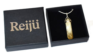New! Citrine Crystal Natural Stone 925 Sterling Silver Pendant & Chain Inc Gift Box