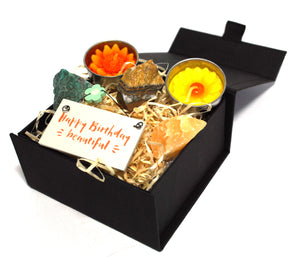 New! 'Happy Birthday Beautiful' Natural Healing Crystal Gift Boxed Set
