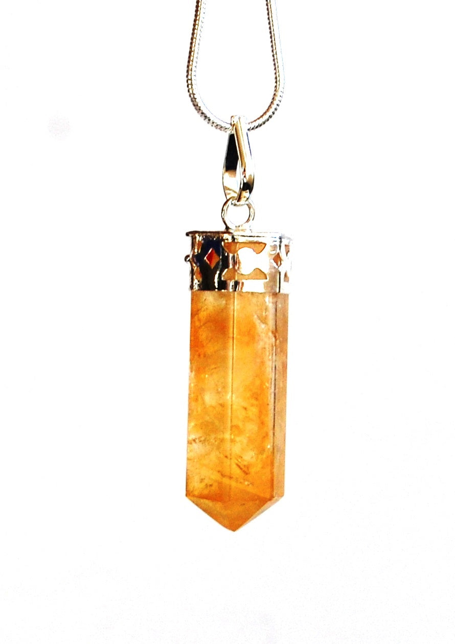 Citrine Crystal Stone Pendant Necklace Inc Silver Plated Snake Chain