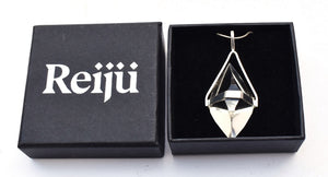 New! Natural Herkimer Quartz Crystal Pendant Necklace Inc Gift Box