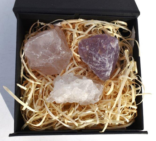 New! Natural Raw RAC Rose Quartz Amethyst & Clear Quartz Crystal Chunk Set In Luxury Reiju Gift Box